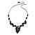 Romantic Glass and Ceramic Bead Heart Pendant Charm Necklace In Silver Tone (Black) - 64cm L