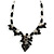 Romantic Glass and Ceramic Bead Heart Pendant Charm Necklace In Silver Tone (Black) - 64cm L - view 3