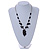 Romantic Glass and Ceramic Bead Heart Pendant Charm Necklace In Silver Tone (Black) - 64cm L - view 2