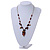 Romantic Glass and Ceramic Bead Heart Pendant Charm Necklace In Silver Tone (Amber Brown, Black) - 64cm L - view 2