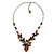Romantic Glass and Ceramic Bead Heart Pendant Charm Necklace In Silver Tone (Amber Brown, Black) - 64cm L