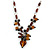 Romantic Glass and Ceramic Bead Heart Pendant Charm Necklace In Silver Tone (Amber Brown, Black) - 64cm L - view 3