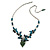 Romantic Glass and Ceramic Bead Heart Pendant Charm Necklace In Silver Tone (Teal, Black) - 64cm L