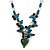 Romantic Glass and Ceramic Bead Heart Pendant Charm Necklace In Silver Tone (Teal, Black) - 64cm L - view 3