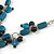 Romantic Glass and Ceramic Bead Heart Pendant Charm Necklace In Silver Tone (Teal, Black) - 64cm L - view 5