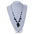 Romantic Glass and Ceramic Bead Heart Pendant Charm Necklace In Silver Tone (Teal, Black) - 64cm L - view 2