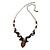 Romantic Glass and Ceramic Bead Heart Pendant Charm Necklace In Silver Tone (Plum, Black) - 64cm L - view 3