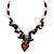 Romantic Glass and Ceramic Bead Heart Pendant Charm Necklace In Silver Tone (Plum, Black) - 64cm L - view 4