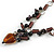 Romantic Glass and Ceramic Bead Heart Pendant Charm Necklace In Silver Tone (Plum, Black) - 64cm L - view 5