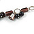 Romantic Glass and Ceramic Bead Heart Pendant Charm Necklace In Silver Tone (Plum, Black) - 64cm L - view 6
