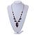 Romantic Glass and Ceramic Bead Heart Pendant Charm Necklace In Silver Tone (Plum, Black) - 64cm L - view 2