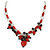 Romantic Glass and Ceramic Bead Heart Pendant Charm Necklace In Silver Tone (Carrot Red, Black) - 64cm L - view 3