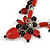 Romantic Glass and Ceramic Bead Heart Pendant Charm Necklace In Silver Tone (Carrot Red, Black) - 64cm L - view 4