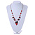 Romantic Glass and Ceramic Bead Heart Pendant Charm Necklace In Silver Tone (Carrot Red, Black) - 64cm L - view 2