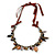 Statement Ceramic, Glass, Acrylic Bead Bronze Tone Chain with Silk Cord Necklace (Brown/ Black) - Adjustable - view 7