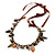 Statement Ceramic, Glass, Acrylic Bead Bronze Tone Chain with Silk Cord Necklace (Brown/ Black) - Adjustable