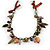 Statement Ceramic, Glass, Acrylic Bead Bronze Tone Chain with Silk Cord Necklace (Brown/ Black) - Adjustable - view 8