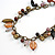 Statement Ceramic, Glass, Acrylic Bead Bronze Tone Chain with Silk Cord Necklace (Brown/ Black) - Adjustable - view 3