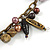Statement Ceramic, Glass, Acrylic Bead Bronze Tone Chain with Silk Cord Necklace (Brown/ Black) - Adjustable - view 5