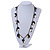 Boho Style Shell, Ceramic, Bone Charm with Bronze Tone Chain Necklace (Black/ Natural) - 76cm L - view 2