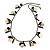 Boho Style Shell, Ceramic, Bone Charm with Bronze Tone Chain Necklace (Black/ Natural) - 76cm L