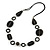 Black Ceramic Bead and Black Wood Ring Cotton Cord Necklace - 70cm L