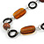 Brown/ Amber Ceramic Bead and Black Wood Ring Cotton Cord Necklace - 70cm L - view 3