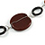 Brown/ Amber Ceramic Bead and Black Wood Ring Cotton Cord Necklace - 70cm L - view 4
