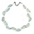 Two Strand Square Transparent Glass Bead Silver Tone Wire Necklace - 48cm L/ 5cm Ext