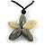 Oversized Grey/ Beige Resin Flower Pendant with Cotton Cord - 46cm L/ 10cm Flower