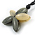 Oversized Grey/ Beige Resin Flower Pendant with Cotton Cord - 46cm L/ 10cm Flower - view 4