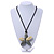 Oversized Grey/ Beige Resin Flower Pendant with Cotton Cord - 46cm L/ 10cm Flower - view 3