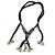 Unique Ceramic Bead with Silver Tone Heart Charm Black Fabric Necklace - Adjustable - 48cm L