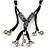 Unique Ceramic Bead with Silver Tone Heart Charm Black Fabric Necklace - Adjustable - 48cm L - view 3