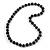 Chunky Black Wood Bead Necklace - 76cm L