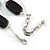 Two Strand Square Black Glass Bead Silver Tone Wire Necklace - 48cm L/ 5cm Ext - view 5