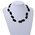 Two Strand Square Black Glass Bead Silver Tone Wire Necklace - 48cm L/ 5cm Ext - view 2