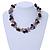 Exquisite Black Ceramic Bead & Purple/ Natural Shell Composite Silver Tone Link Necklace - 43cm L/ 5cm Ext - view 2