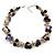 Exquisite Black Ceramic Bead & Purple/ Natural Shell Composite Silver Tone Link Necklace - 43cm L/ 5cm Ext - view 3