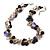Exquisite Black Ceramic Bead & Purple/ Natural Shell Composite Silver Tone Link Necklace - 43cm L/ 5cm Ext