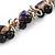 Exquisite Black Ceramic Bead & Purple/ Natural Shell Composite Silver Tone Link Necklace - 43cm L/ 5cm Ext - view 5