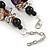 Exquisite Black Ceramic Bead & Purple/ Natural Shell Composite Silver Tone Link Necklace - 43cm L/ 5cm Ext - view 6