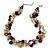 Exquisite Black Ceramic Bead & Brown/ Natural Shell Composite Silver Tone Link Necklace - 41cm L/ 4cm Ext