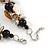 Exquisite Black Ceramic Bead & Brown/ Natural Shell Composite Silver Tone Link Necklace - 41cm L/ 4cm Ext - view 4