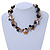 Exquisite Black Ceramic Bead & Brown/ Natural Shell Composite Silver Tone Link Necklace - 41cm L/ 4cm Ext - view 2