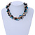 Exquisite Black Ceramic Bead & Teal/ Natural Shell Composite Silver Tone Link Necklace - 36cm L/ 7cm Ext - view 2