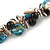 Exquisite Black Ceramic Bead & Teal/ Natural Shell Composite Silver Tone Link Necklace - 36cm L/ 7cm Ext - view 3