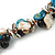 Exquisite Black Ceramic Bead & Teal/ Natural Shell Composite Silver Tone Link Necklace - 36cm L/ 7cm Ext - view 4