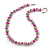 Stylish Metal Ball with Wire and Deep Pink Sea Shell Nugget Necklace In Silver Tone - 44cm L/ 4cm Ext