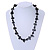 Dark Green Bone and Black Wood Bead with Cotton Cord Necklace - 62cm L - view 2